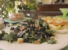 Kale, Roasted Celery Root, Deviled Eggs and Spiced Almond Salad Recipe : Damaris Phillips : Food Network - FoodNetwork.com