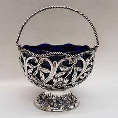 George III Silver Sugar Basket at waxantiques, in London Gallery Website, Rope Twist, Photoshop Design, Online Gallery, Wood Carving, Silver Dealers, Antique Furniture, Antique Silver, Salt Cellars