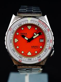 FS: 1983 DOXA Sub 600T Divingstar Orage Dial (Aubry Era) Vintage Dive Watches, Big Watches, Rolex Watches, Watches For Men, Orange House, Seiko, At Least, Mens Fashion, Scuba Diving