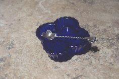 VINTAGE COBALT BLUE CLOVER SALT DIP