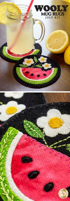 Add the perfect touch of cozy to your home with the Wooly Mug Rug series! Have adorable wool mug rugs for every month of the year! This is a Shabby Fabrics Exclusive! Book Crafts, Felt Crafts, Craft Books, Needle Felting Tutorials, Shabby Fabrics, Felted Slippers, Penny Rugs, Wool Felt, Felted Wool