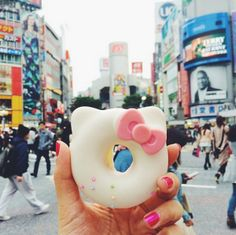 Hello Kitty Donut at the Shibuya crossing in Tokyo, Japan! This was too cute to pass up, from the basement of Hikarie building, one street a...