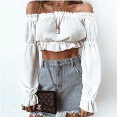 Off Shoulder Women Blouse Chiffon Shirts Long Sleeve Tube Blusa Ruffle Short Cropped Tops Summer Shirt Trendy Outfits, Summer Outfits, Cute Outfits, Fashion Outfits, Fashion Trends, Womens Fashion, Party Outfits, Junior Outfits, Fashion Ideas