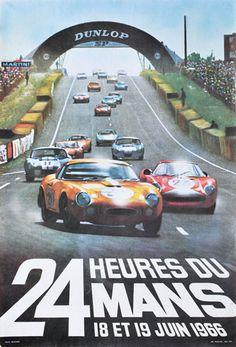 1966 24 Hours du Mans poster by Andre Delourmel