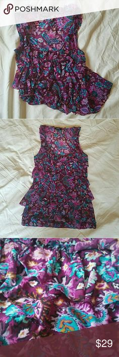 NWOT  EXPRESS  Purple/Blue Mesh Camisole A TRUE BEAUTY  Makes a striking impression and major impact on first site!! Beautiful and flowing mesh tiers adorned with purple and blue tones of floral paisley. Ultra lightweight and comfortable. Easily can be dressed up for the office then straight to a night out after. You can NOT go wrong with whatever you may choose!!!  NWOT Never been worn, no stains, tears or snags Express Tops Camisoles