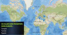 voyager sans passeport North Europe, Bons Plans, Pacific Ocean, Cancer, Asia, Diagram, America, Map, Voici