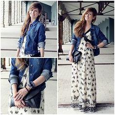 Mariposas dress with denim jacket