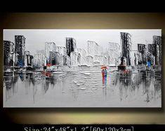Un nouveau type de mur peinture abstraite, noir et blanc peinture, urbain empâtement peinture de paysage, couteau à Palette peinture sur toile par Chen