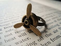 Steampunk+Ring+Antiqued+Brass+Spinning+Propeller+on+por+IrinSkye,+$12,00