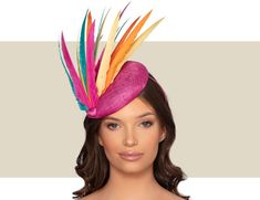 Ladies Dramatic, Multi-Color Cocktail Hat For Special Occasions. Cocktail Hat, Fancy Hats, Kentucky Derby Hats, Wedding Hats, Hats For Women, Fascinator, Special Occasion, Color, Style