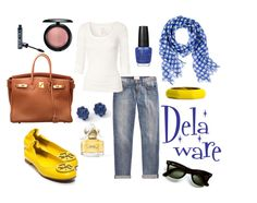 A Delaware inspired outfit! Buy all of this w/ tax-free savings while visiting Delaware. Learn more at http://www.visitdelaware.com/things-to-do/shopping/save-on-delaware-shopping.