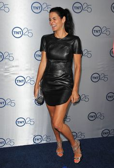 Angie Harmon Lookbook: Angie Harmon wearing Azede Jean-Pierre Leather Dress (1 of 13). Angie was edgy form head to toe, especially with this leather quilted mini dress.