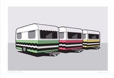Retro caravans painted as liquorice allsorts - graphic art print for sale by NZ illustrator Glenn Jones. Caravan Paint, Liquorice Allsorts, Retro Caravan, Graphic Art, Graphic Design, New Print, Print Store, Recreational Vehicles, Camper