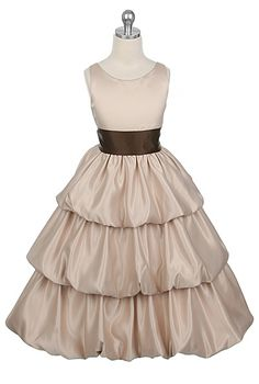Pretty  A-line Scoop  Floor-length  Tiered  Flower Girl Dress with Sash
