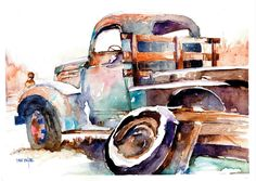 Old Truck In Winter. Watercolor. By Dave Butler