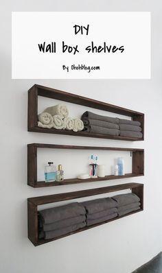 diy shelves DIY wall box shelves More - Wood Box Shelves, Diy Wall Shelves, Floating Shelves, Easy Shelves, Bathroom Shelves, Bathroom Storage Diy, Corner Shelves, Bathroom Organization, Diy Wall Decor