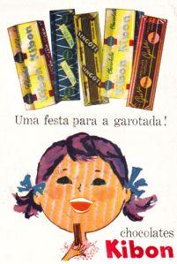 Chocolate-Kibon-1959 -  Nas décadas de 1950 a 1970, os famosos carrinhos amarelos da marca vendiam os chocolates Ki-Bamba, Ki-Leite, Ki-Coco, Ki-Passas, Ki-Coisa e Lingote, além das balinhas coloridas Delicados, amendoim coberto com chocolate e jujubas. Os sorvetes da Kibon eram Já-já, de coco; Ka-lu, de abacaxi; Ton-bon, de limão; e os célebres Chicabon e Eskibon (na época, Chica-bon e Eski-bon, com hífen)