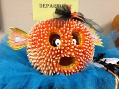 Candy corn-pumpkin puffer fish!! How cool is this? Came from Corinth, MS hospital surgery department! And the pumpkin is the size of a basketball!