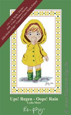 I read a funny baby poem about walking in the rain and this picture emerged from my memory :) #countedcrossstitch #crossstitch #ebook #book #product #kids #baby
