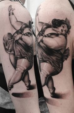 Beautiful plus sized dancer tattoo by Noa Yannì #InkedMagazine #plussized #pinup #dancer #bbw #tattoo #tattoos #inked