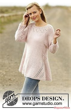 Pastel Elegance jumper with lace pattern and raglan by DROPS Design Free Knitti… - Stricken Anleitungen Summer Knitting, Lace Knitting, Knitting Stitches, Knitting Patterns Free, Knit Crochet, Free Pattern, Tunisian Crochet, Free Crochet, Drops Design