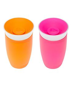 Look at this #zulilyfind! Pink & Orange Miracle 360˚ 10-Oz. Sippy Cup - Set of Two by Munchkin #zulilyfinds