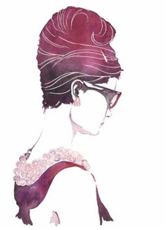 Audrey Hepburn - ink & watercolor