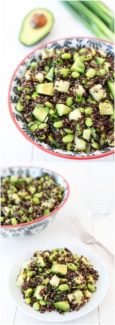 awesome Quinoa Salad with Edamame, Cucumber, and Avocado on twopeasandtheirpo.... Love t...