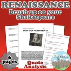 Brush Up on Your Shakespeare Quote Analysis (Renaissance) Modern World History, European History, Shakespeare Plays, Shakespeare Quotes, Renaissance And Reformation, Unit Plan, Playwright, Graphic Organizers, English Language