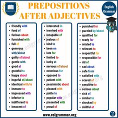 Prepositions after Adjectives English Grammar For Kids, Teaching English Grammar, English Writing Skills, English Language Learning, English Words, English Vocabulary, English Adjectives, Good Vocabulary Words, Classroom Language
