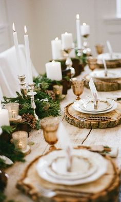 20 Gorgeous Holiday Decor Ideas   Holiday decorations for Christmas 2016 - wooden chargers + pinecones, candlesticks, and garland