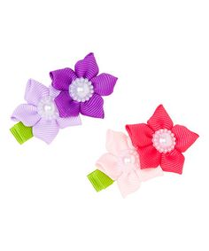 Another great find on #zulily! Pink & Purple Sweet Flowers Clip Set #zulilyfinds