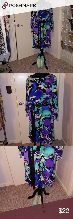 "Tiana B long sleeve knit dress. Beautiful multi colors! Belt not included. Shoes sold separately. Would fit 14-16 easy. Tight 18. Right below knee on 5'6"". Tiana B Dresses Midi"