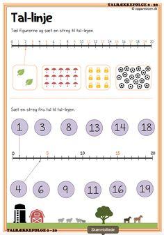Talrækkefølge | Opgaveskyen.dk Flashcards For Kids, Kindergarten Math Worksheets, Preschool Math, Teaching Math, Math Activities, Logic Math, Math Pages, English Lessons For Kids, Math School