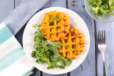 Stock Photo: sweet potato waffle and salad - Sweet Potato Pancakes, Cooking Sweet Potatoes, Food Inspiration, Food Processor Recipes, Vegetarian Recipes, Healthy Eating, Nutrition, Breakfast, Side Dishes