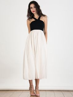 Black Contrast Bow Tie Back Tulle Maxi Dress - chiclookcloset