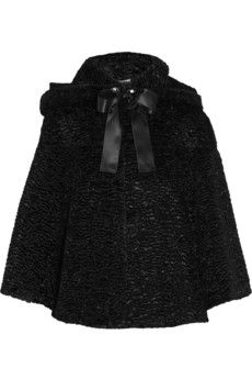 Alexander McQueen Bow-embellished faux fur jacket   NET-A-PORTER