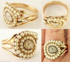 ring - Antique Georgian Snake Gold Natural Pearls Memorial