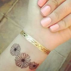 """I want this on the top of my right foot in the corner. Daisy's were my aunts favorite flower. There will be 3 flowers, one for me, my mom, and my aunt. They will also represents the trinity because I want Faith like my mom and my aunt. The flower in the middle will be the smallest and will be """"me"""" with two bigger ones on next to it for my mom and aunt."""