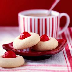 Butter Dream Cookies: 3/4 cup butter, softened, 1/4 cup shortening, 1/2 cup sugar, 1 tsp almond extract, 1/2 tsp salt, 2 1/4 cups all-purpose flour, 24 maraschino cherries (about one-half of a 10-ounce jar)