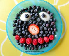 Creative Kid Snacks: Grover   (The girls thought it was cookie monster - apparently they are too old for this!)