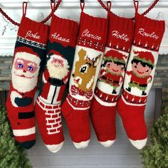 1a4b6b8e4 Christmas stocking Knit Wool Personalized   Kris Kringle Down the Chimney  Hand Knit Wool Christmas S