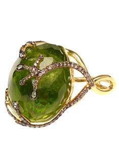 Kimberly Mcdonald Large Peridot And Diamond Ring - Browns - farfetch.com