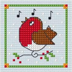 A quickie chart.for that last minute special card Cross Stitch Christmas Cards, Xmas Cross Stitch, Cross Stitch Cards, Cross Stitch Baby, Cross Stitch Samplers, Cross Stitch Animals, Cross Stitch Kits, Christmas Cross, Cross Stitch Designs
