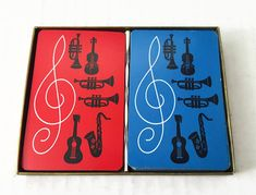 Vintage Trebel Clef Musical Instrument Double Deck Playing Cards in Red & Blue Trumpet Saxophone Band Guitar Violin by ThriftyTheresa