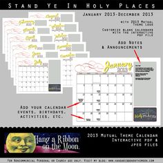 2013 YW/YM Mutual Theme Calendar from Hang a Ribbon on the Moon. Interactive PDF makes it EASY to add info!