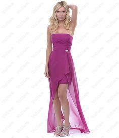 Chiffon Strapless Hi-Low Purple Prom Dress - http://www.vudress.com/