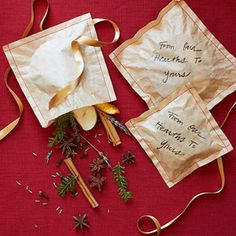 Fireplace sachets  To Make: Cut two coffee filters into identical squares and sew them together with red string -- but leave one side open, like a pillowcase. Stuff the pouch with a handful of spice mixture -- made up of dried orange and apple peels, cloves, pine needles, star anise, cinnamon sticks, sprigs of rosemary and lavender. Then sew the open flap closed.