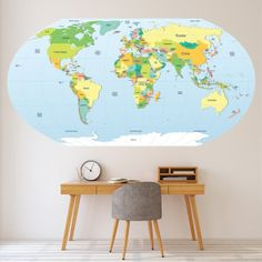 Political World Map Educational Wall Sticker Decal Home Decor Political World Map Wall Sticker Decal. Transform your walls with this fantastic world map wall decal from Icon Wall Stickers. Available in a range of sizes. Wall Stickers World Map, Custom Wall Stickers, Earth World Map, World Map Continents, Travel Wall Art, Water Color World Map, Italy Map, World Map Wall Art, Australia Map