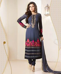 Drashti Dhami Steel Blue Georgette Churidar Suit 78403